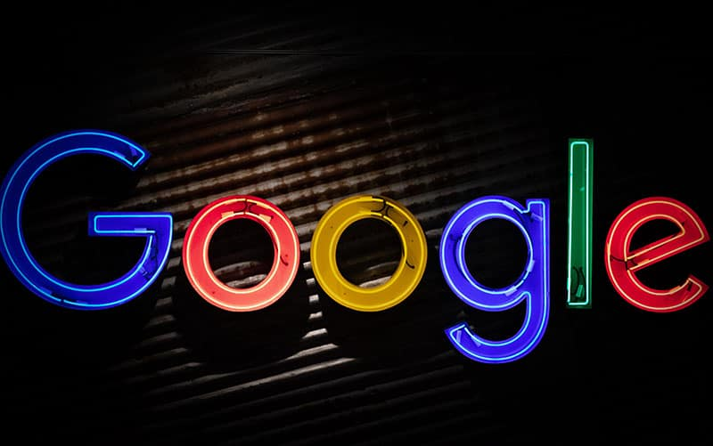 Google logo in lights